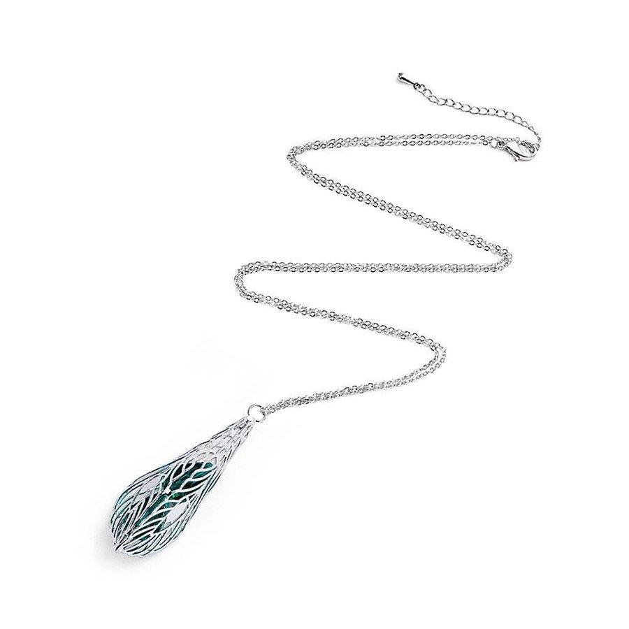 Silberfarbig/Grüne Halskette mit Feder Anhänger-1