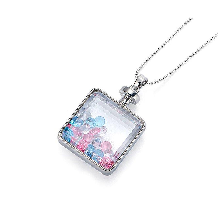 Mehrfarbig/Silberfarbig Halskette Anhänger mit Kristall Steinen-1