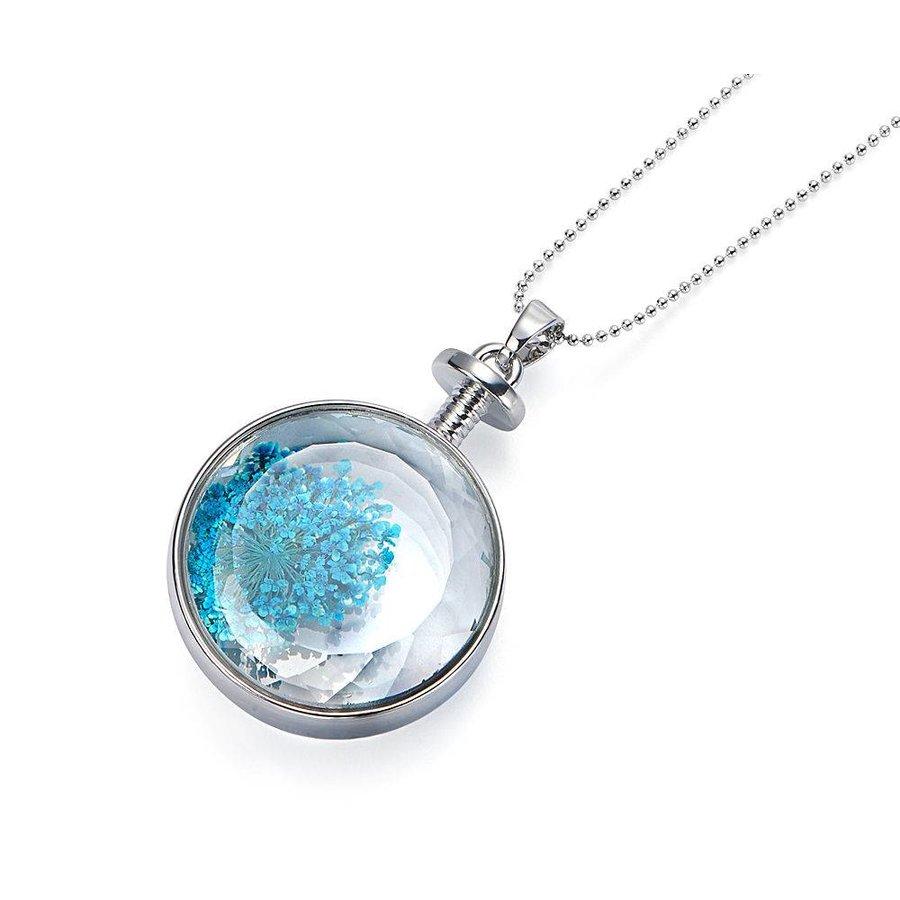 Silberfarbig/Blaue Halskette mit Trockenblumen-1