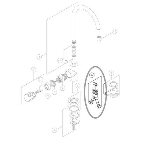 """Nobili Flexible connection hose Nobili 3/8 """"10x1 45cm (2 pcs)"""