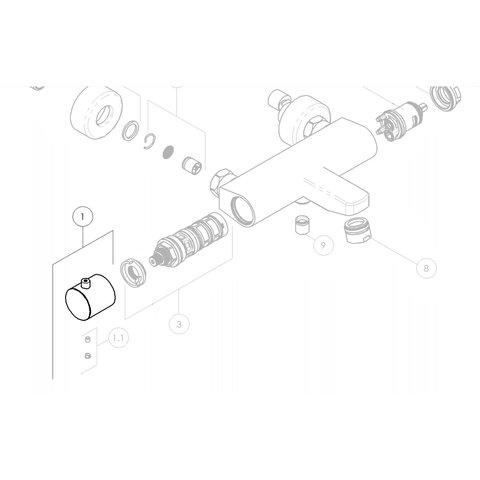 Nobili knop voor badthermostaatkraan TG85310/1CR en inbouwthermostaat RMA184/178CR