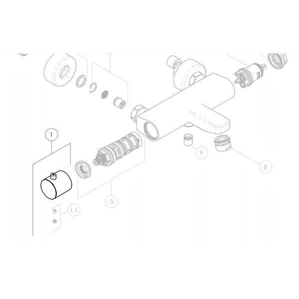Nobili Drehknopf für die Temperatur des Nobili Tago Badthermostathahns Chrom und des eingebauten Thermostathahns RMA184 / 178CR