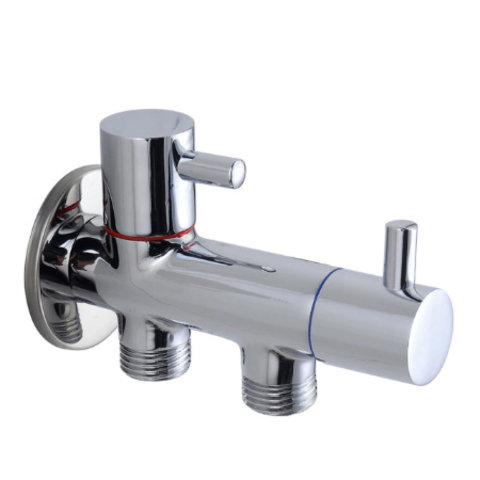 Angle valve double connection for toilet shower 1 / 2x1 / 2x1 / 2