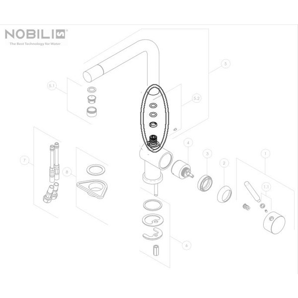 Nobili Nobili seals spout RSA228 / 84 for kitchen tap oz and Doeco MK120C