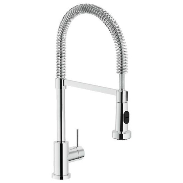 Nobili Live kitchen mixer stainless steel with spring