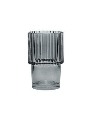 House Doctor Glass Rills | Smoked Gray | SET OF 4