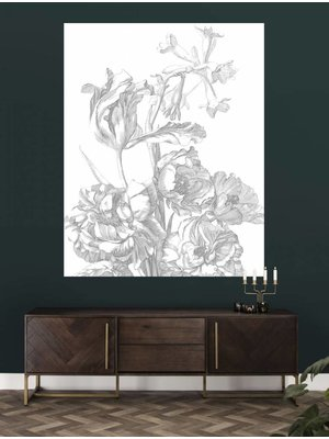 KEK Amsterdam Behangpaneel Engraved Flowers | 142,5 x 180 cm
