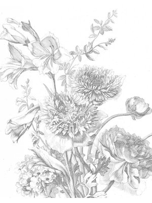 KEK Amsterdam Wallpaper panel Engraved Flowers 2.0 | 142.5 x 180 cm