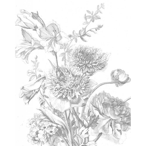 KEK Amsterdam Behangpaneel Engraved Flowers 2.0 | 142,5 x 180 cm