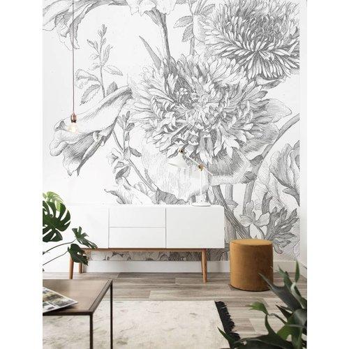 KEK Amsterdam Fotobehang Engraved Flowers 2.0 | 194,8 x 280 cm