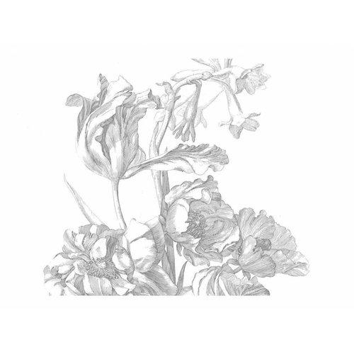 KEK Amsterdam Fotobehang Engraved Flowers | Behangpaneel Engraved Flowers | 389,6 x 280 cm