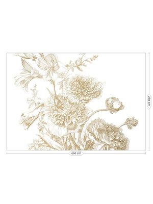 KEK Amsterdam Fotobehang Engraved Flowers Goud 300x280cm
