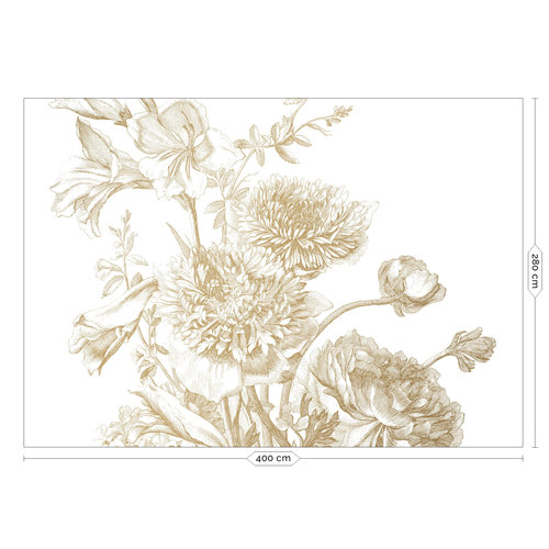 KEK Amsterdam Fotobehang Engraved Flowers Goud 400x280cm
