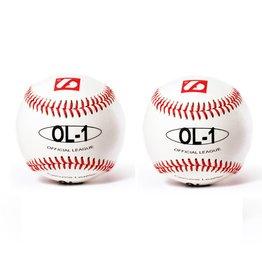 """OL-1 Бейсбольный мяч для соревнований, размер 9"""", цвет белый, 2 шт."""