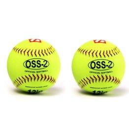 "barnett OSS-2 Мяч для софтбола для начинающих, размер 12"", цвет флуоресцентный жёлтый, 2 штуки"