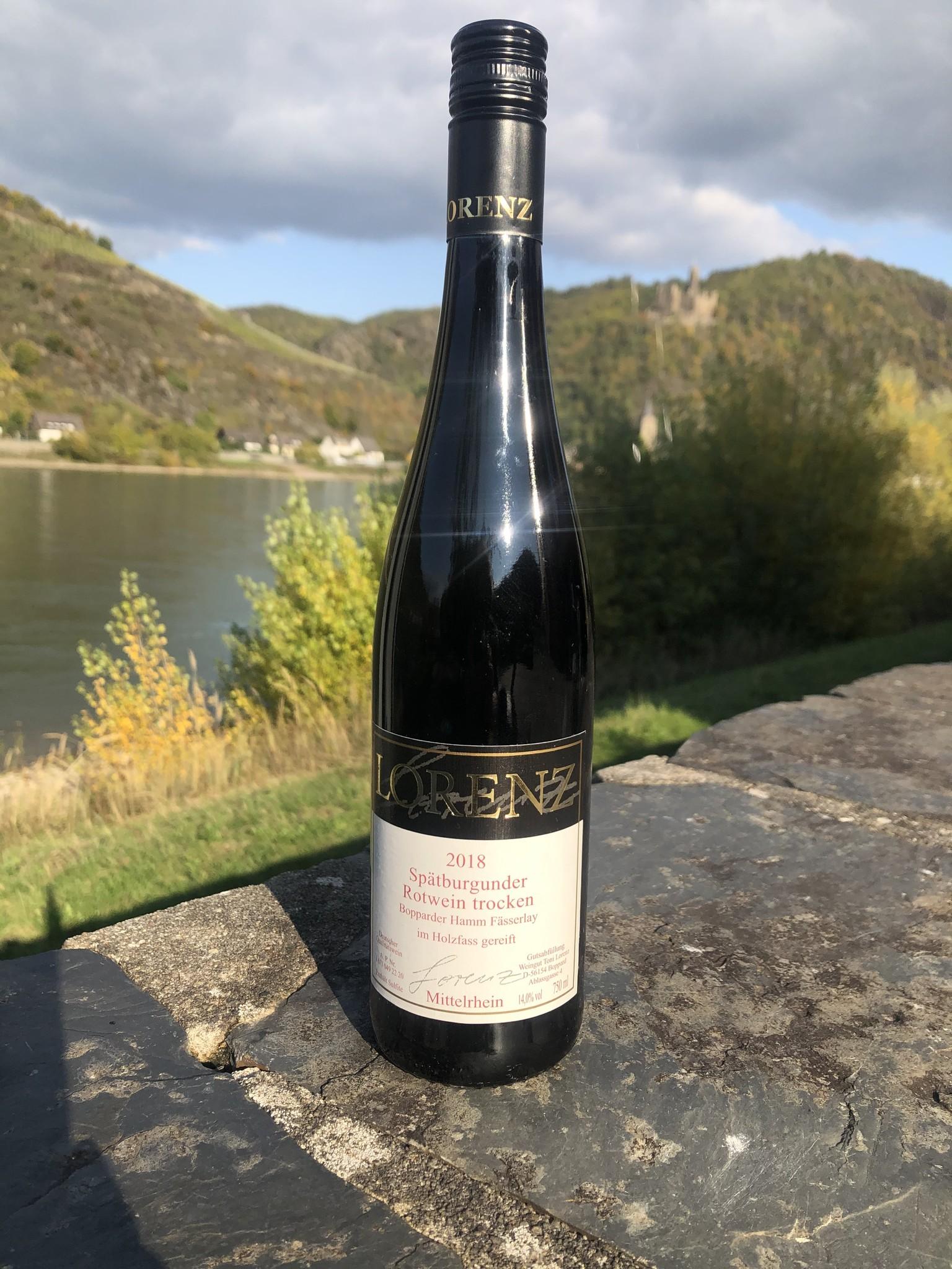 Weingut Toni Lorenz 2018 Spätburgunder Rotwein trocken aus dem Holzfass Bopparder Hamm Fässerlay