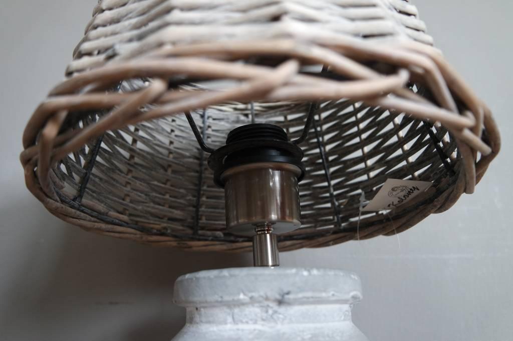 Aardewerk lamp+rotan kap