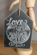 Tekstbordje to the moon