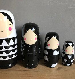 Petit Monkey Nesting dolls Black and White XL