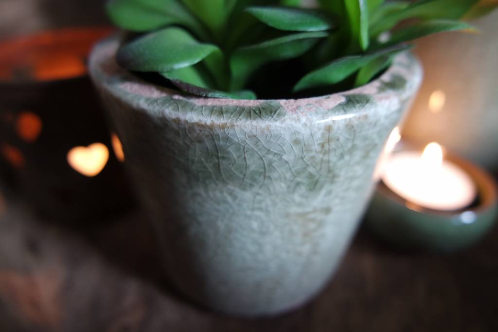 Aardewerk cactuspotje groen