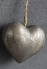 Houten hart zilver