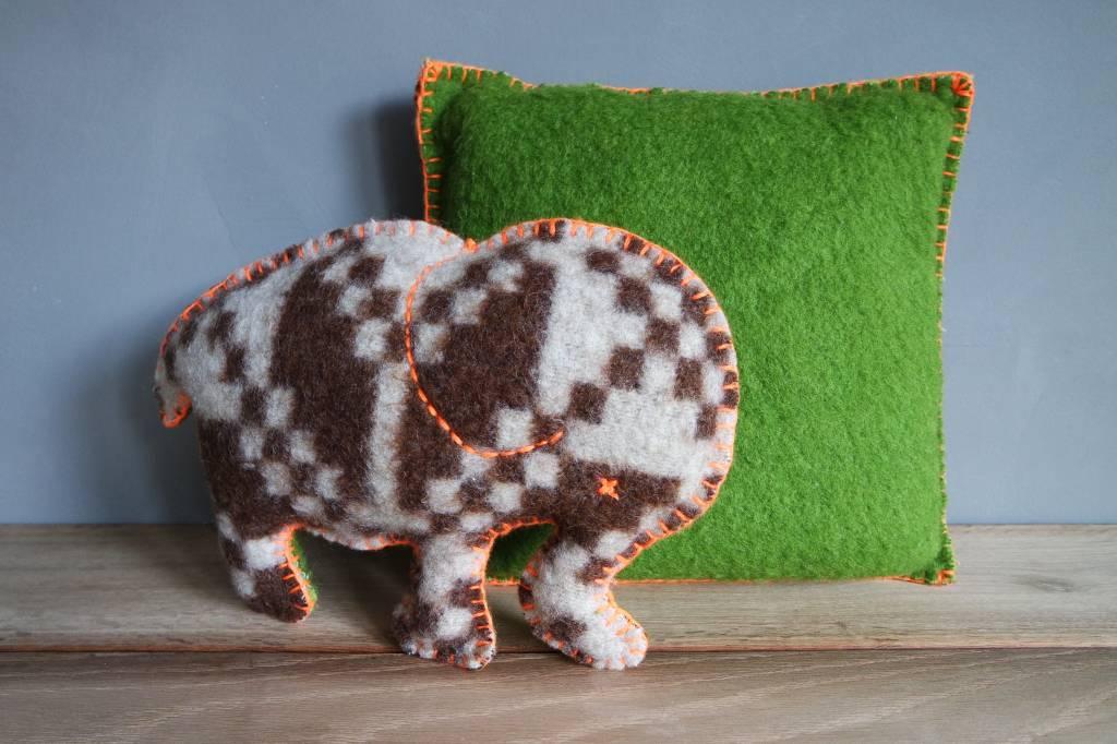 JGhomedeco Olifant wollen deken bruin/groen