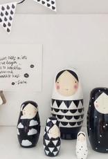Petit Monkey Nesting dolls Black and White