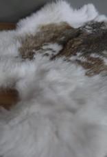 Konijnenvacht wit/bruin