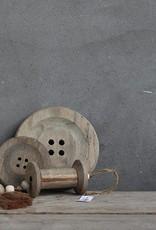 Houten knoop grijs L