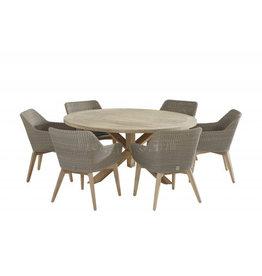 4 Seasons Outdoor Tuinmeubelen Diningset Avila Teak met Louvre tafel 160 cm rond