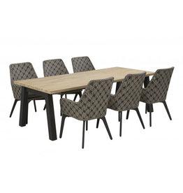 Taste Tuinmeubelen Diningset Savoy met Derby tafel 240 x 100 cm incl .aluminium onderstel