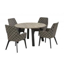 Taste Tuinmeubelen Diningset Savoy met Derby tafel 130 cm rond incl .aluminium onderstel