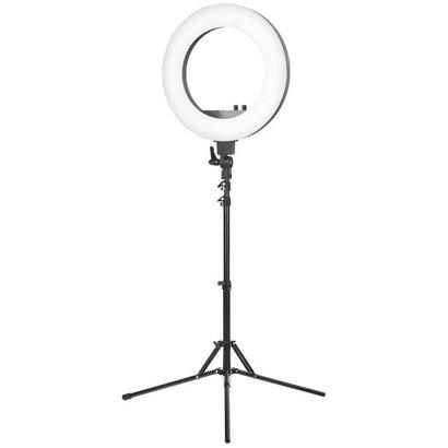 """Merkloos Ring lamp + statief 48Watt 18"""" /zwart LED"""