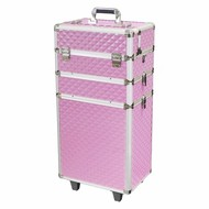 Mega Beauty Shop® Aluminium trolley Roze 3D