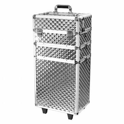 Mega Beauty Shop® Aluminium trolley Zilver 3D