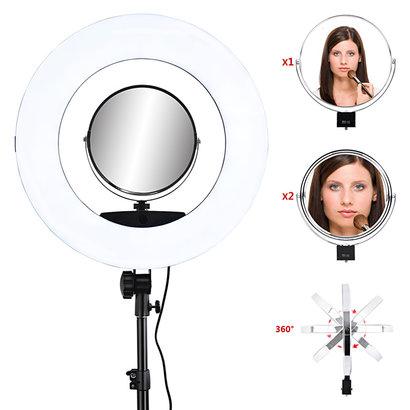 "Mega Beauty Shop® Ring lamp + statief 48Watt 18"" /zwart LED met afstandsbediening"