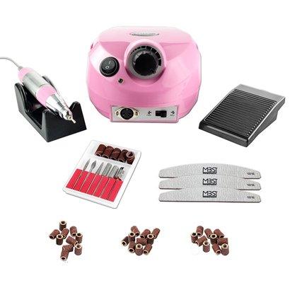 Merkloos Nagelfrees roze + 3 MBS® trapeze vijlen, bitsetje en 30 schuurrolletjes