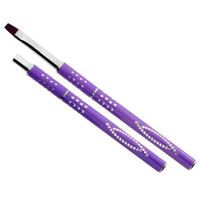 Mega Beauty Shop® Gel-Penseel Paars nr. 8 met steentjes