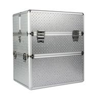 Mega Beauty Shop® Koffer groot Zilver met zilveren strass hartjes