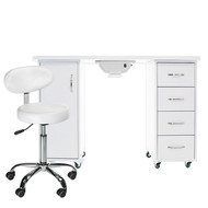 Mega Beauty Shop® Manicuretafel met afzuiging + Werkstoel  (05)