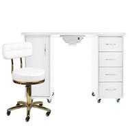 Mega Beauty Shop® Manicuretafel met afzuiging + Werkstoel  (06)