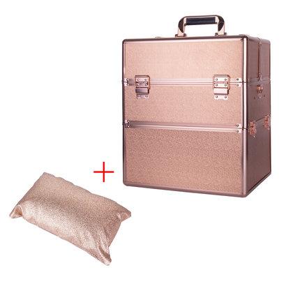 Mega Beauty Shop® Koffer groot Rosé Gold met opbergvakken INCL. armsteun