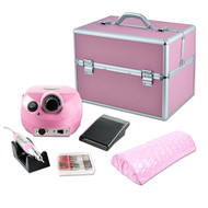 Mega Beauty Shop® Nagelfrees roze +Luxe koffer + Armsteun