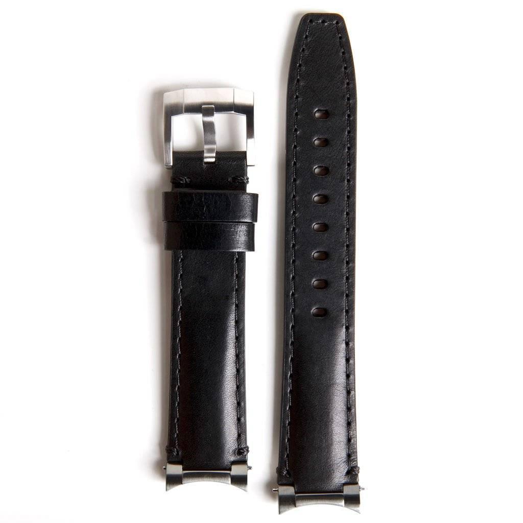 Everest Rolex straps Everest Leather Strap Black Steel end Link, EH3BLK