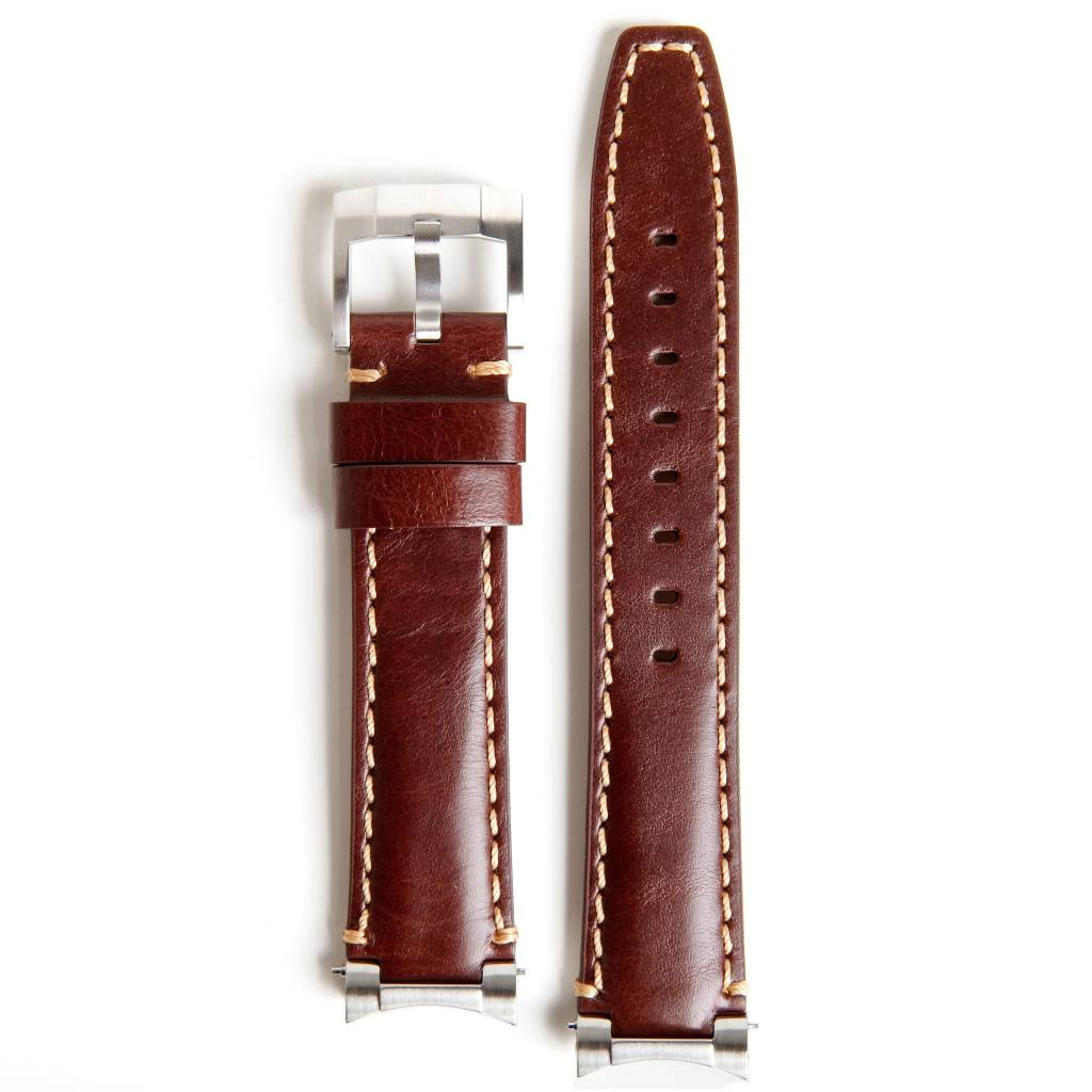 Everest Rolex straps Everest Leather Strap with Tang Buckle Steel End Link Brown, EH3BRN