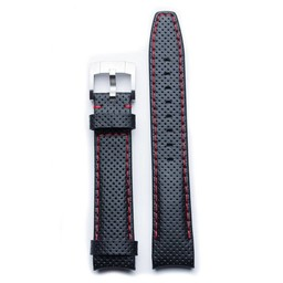 Everest Rolex straps Leather Strap with Tang Buckle Curved End Black Red Stitches Racing, EH8BLKRR