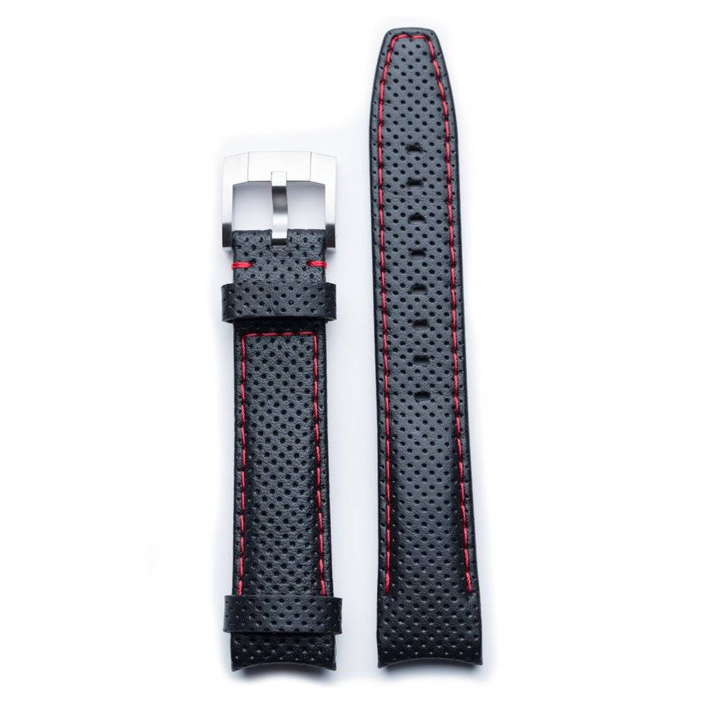 Everest Rolex straps Everest Leather Strap with Tang Buckle Curved End Black Red Stitches Racing, EH8BLKRR