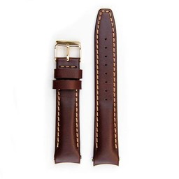Everest Rolex straps Leather Strap with Tang Buckle Curved End Brown ABS, EH8BRN