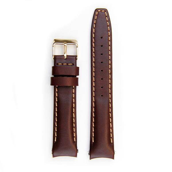 Everest Rolex straps Everest Leather Strap with Tang Buckle Curved End Brown ABS, EH8BRN