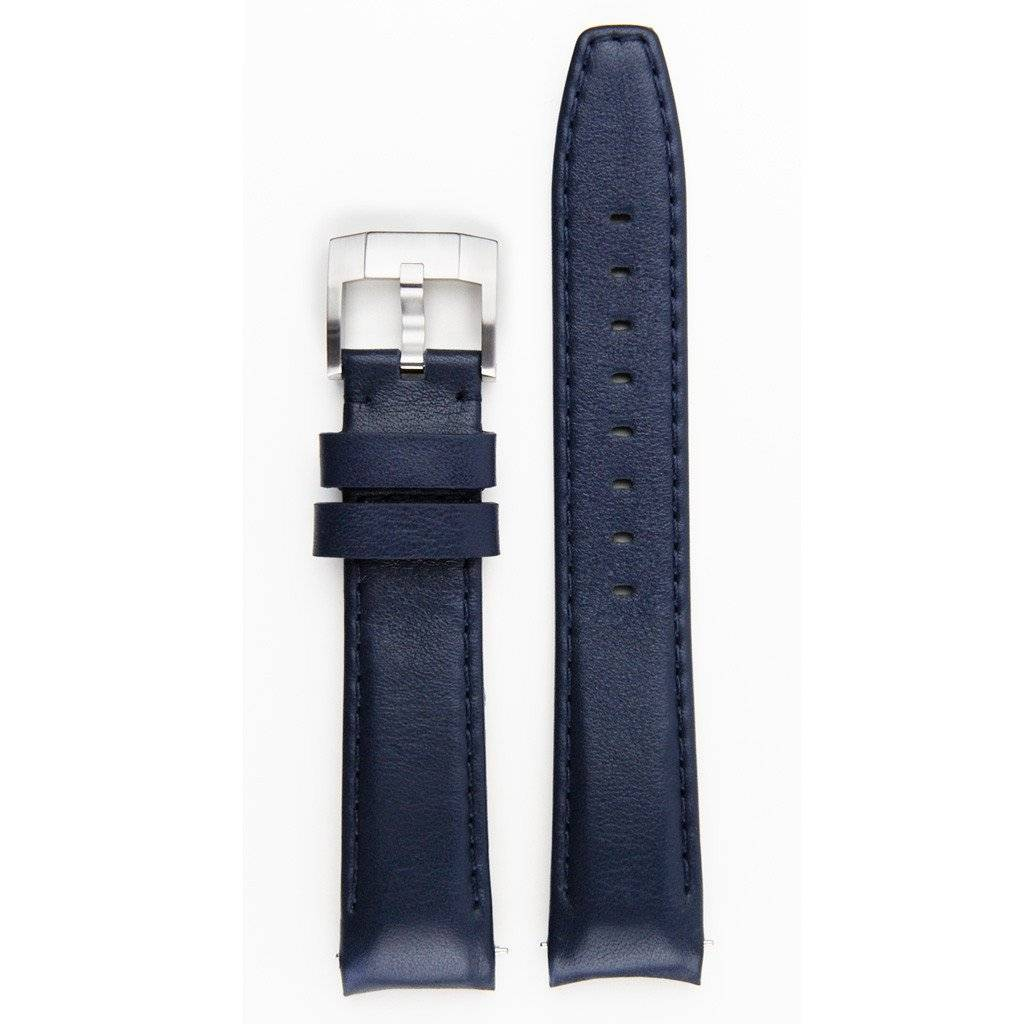 Everest Rolex straps Everest Leather Strap with Tang Buckle Curved End Blue ABS, EH8BLU